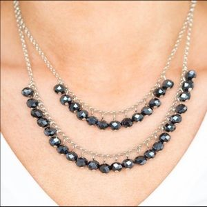 Layered Silver & Blue Beads Necklace & Earrings